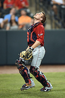 Oklahoma City RedHawks catcher Max Stassi (10) tracks down a pop up in foul territory during a game against the Memphis Redbirds on May 23, 2014 at AutoZone Park in Memphis, Tennessee.  Oklahoma City defeated Memphis 12-10.  (Mike Janes/Four Seam Images)
