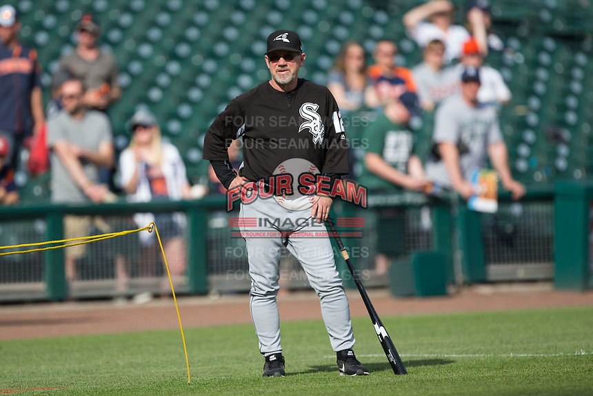 Chicago White Sox third base coach Nick Capra (12) during batting practice prior to the game against the Detroit Tigers at Comerica Park on June 2, 2017 in Detroit, Michigan.  The Tigers defeated the White Sox 15-5.  (Brian Westerholt/Four Seam Images)