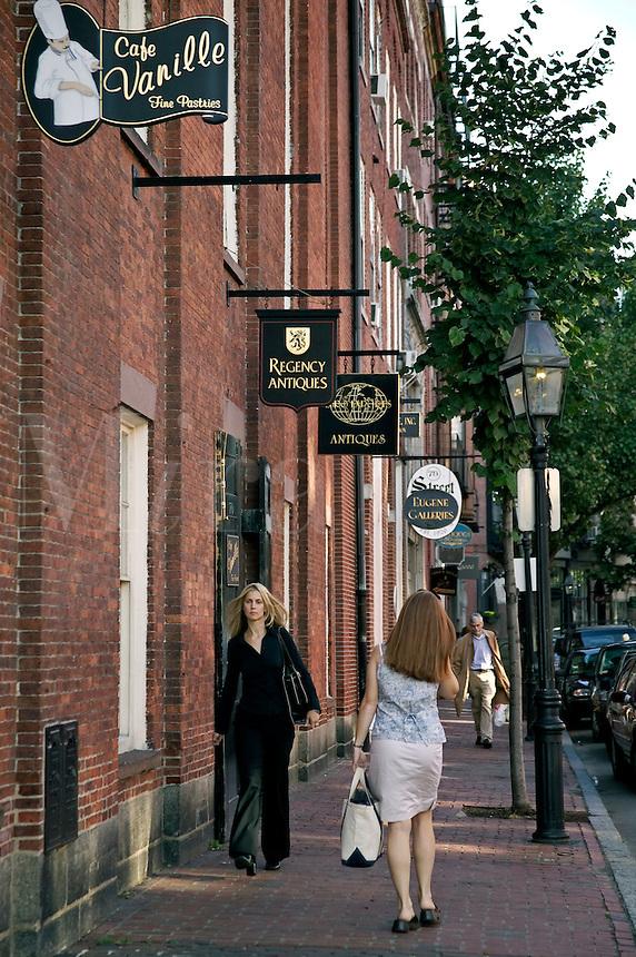 Beacon Hill shops on Charles Street Boston MA