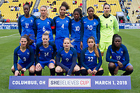 Columbus, Ohio - Thursday March 01, 2018: France starting eleven during a 2018 SheBelieves Cup match between the women's national teams of the England (ENG) and France (FRA) at MAPFRE Stadium.