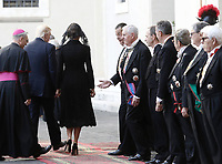 Archibishop Georg Ganswein escorts U.S. President Donald Trump and first lady Melania Trump as he arrives at the San Damaso courtyard for their private audience with Pope Francis, at the Vatican, May 24, 2017.<br /> UPDATE IMAGES PRESS/Isabella Bonotto<br /> STRICTLY ONLY FOR EDITORIAL USE