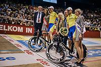 Moreno De Pauw (BEL/SportVlaanderen-Baloise) & Lindsay De Vylder (BEL) receiving the victory flowers<br /> <br /> Lotto 6daagse Vlaanderen-Gent 2018 / Gent6<br /> day 5