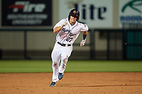 Lakeland Flying Tigers left fielder Brady Policelli (27) running the bases during a Florida State League game against the Tampa Tarpons on April 5, 2019 at Publix Field at Joker Marchant Stadium in Lakeland, Florida.  Lakeland defeated Tampa 5-3.  (Mike Janes/Four Seam Images)