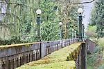 Stone and concrete foot bridge in evergreeen trees in park.  Washington Park Arboretum, Seattle, Washington, USA.  Cedar trees adorned withmoss over aging foot bridge.