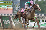 ELMONT, NY - OCTOBER 08: Joel Rosario, atop South Sea #2, crossing the finish line to win the Winthrop University Hospital's Breast Health Center Race, on Jockey Club Gold Cup Day at Belmont Park on October 8, 2016 in Elmont, New York. (Photo by Douglas DeFelice/Eclipse Sportswire/Getty Images)