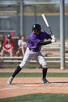 Colorado Rockies center fielder Daniel Montano (12) during a Minor League Spring Training game against the Milwaukee Brewers at Salt River Fields at Talking Stick on March 17, 2018 in Scottsdale, Arizona. (Zachary Lucy/Four Seam Images)