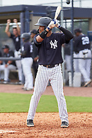 FCL Yankees Madison Santos (34) bats during a game against the FCL Phillies on July 6, 2021 at the Yankees Minor League Complex in Tampa, Florida.  (Mike Janes/Four Seam Images)
