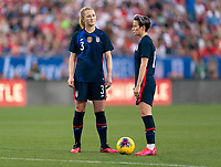 FRISCO, TX - MARCH 11: Sam Mewis #3 and Megan Rapinoe #15 of the United States talk during a game between Japan and USWNT at Toyota Stadium on March 11, 2020 in Frisco, Texas.