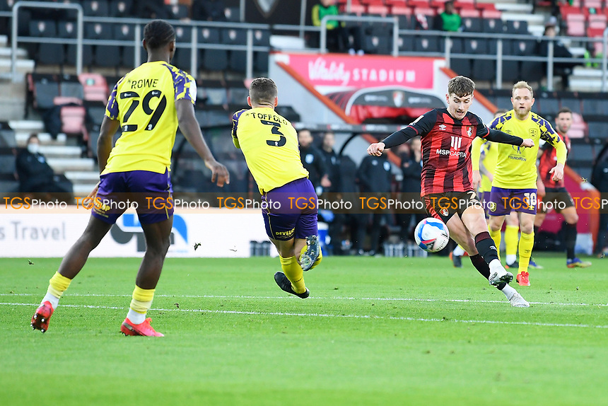 David Brooks of AFC Bournemouth right scores the third goal during AFC Bournemouth vs Huddersfield Town, Sky Bet EFL Championship Football at the Vitality Stadium on 12th December 2020