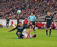 13.01.2018,  Football 1.Liga 2017/2018, 18. match day, VfB Stuttgart - Hertha BSC Berlin, in Mercedes-Benz-Arena Stuttgart. Szene  Fuehrungsgoal  1:0, v.li: Niklas Stark (Hertha BSC Berlin) erzielt das Eigengoal  -  Mario Gomez (Stuttgart). *** Local Caption *** © pixathlon<br /> <br /> +++ NED + SUI out !!! +++<br /> Contact: +49-40-22 63 02 60 , info@pixathlon.de