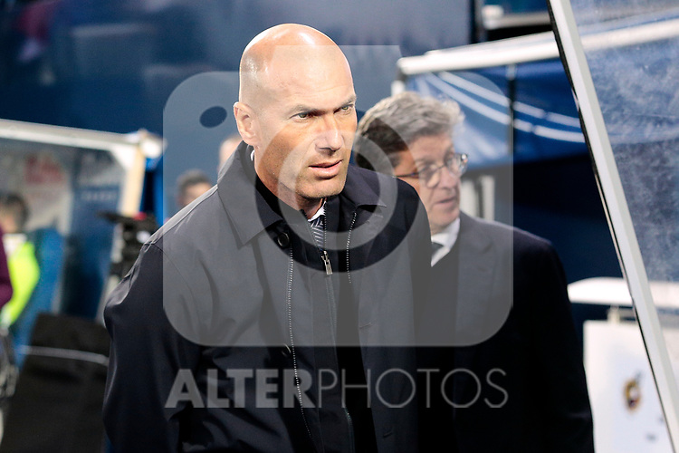 Real Madrid's coach Zinedine Zidane during La Liga match between CD Leganes and Real Madrid at Butarque Stadium in Leganes, Spain. April 15, 2019. (ALTERPHOTOS/A. Perez Meca)