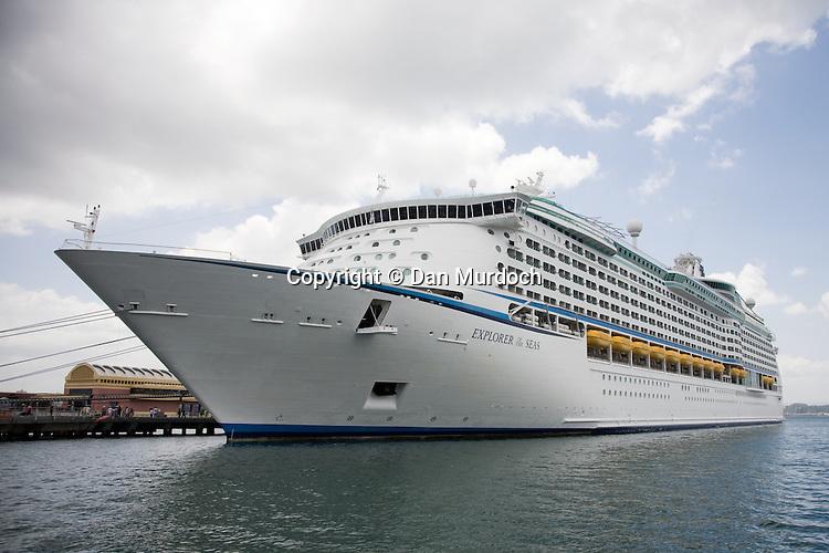 "The Royal Caribbean cruise ship ""Explorer of the Seas"" at port in San Juan, Puerto Rico."