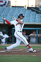 Forrest Wall (7) of the Lancaster JetHawks bats against the San Jose Giants at The Hanger on April 10, 2017 in Lancaster, California. Lancaster defeated San Jose 11-7. (Larry Goren/Four Seam Images)