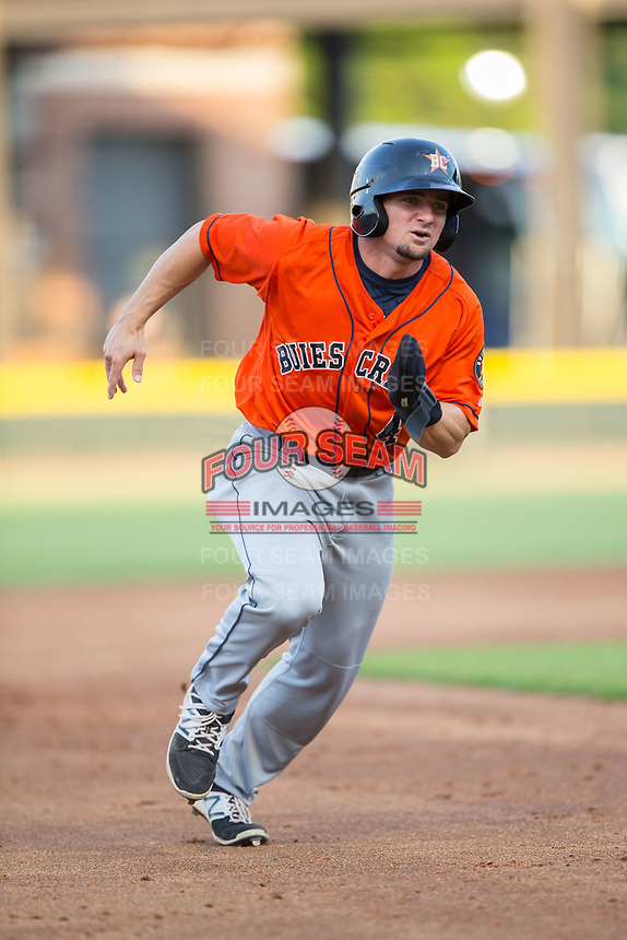 Ryne Birk (4) of the Buies Creek Astros hustles towards third base against the Winston-Salem Dash at BB&T Ballpark on April 15, 2017 in Winston-Salem, North Carolina.  The Astros defeated the Dash 13-6.  (Brian Westerholt/Four Seam Images)