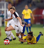 Amy Rodriguez, Renata Costa. The USWNT defeated Brazil, 1-0, to win the gold medal during the 2008 Beijing Olympics at Workers' Stadium in Beijing, China.
