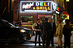 BROOKLYN, NY — SEPTEMBER 25, 2020:  NYPD detectives investigate at the scene of a double shooting, where one man was killed and another seriously injured while sitting in a Jeep Cherokee, on the corner of Marcus Garvey Blvd and Monroe Street on September 25, 2020 in the Brooklyn borough of New York City.  Photograph by Michael Nagle