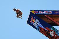 12th June 2021, Saint-Raphaël, Provence-Alpes-Côte d'Azur, France; Red Bull Cliff Diving competition;  Carlos GIMENO (Esp)