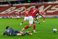 21st November 2020, Oakwell Stadium, Barnsley, Yorkshire, England; English Football League Championship Football, Barnsley FC versus Nottingham Forest; Callum Brittain of Barnsley beats Yuri Ribeiro of Nottingham Forrest before setting up Cauley Woodrow of Barnsley on min 88 to make it 2-0