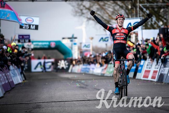 Laurens Sweeck (BEL/Pauwels Sauzen - Bingoal) becomes the new Belgian National CX Champion 2020. <br /> <br /> Elite Men's Race <br /> Belgian National CX Championships<br /> Antwerp 2020