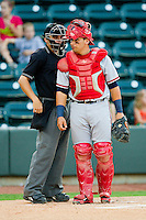 Home plate umpire Jansen Visconti says something to Potomac Nationals catcher Erick Fernandez #24 during the Carolina League game against the Winston-Salem Dash at BB&T Ballpark on June 13, 2012 in Winston-Salem, North Carolina.  The Dash defeated the Nationals 5-3.  (Brian Westerholt/Four Seam Images)