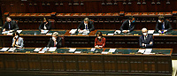 The Italian Prime Minister Mario Draghi surrounded by Ministers at the Chamber of Deputies during the discussion and vote of confidence in the new Government. Rome (Italy), February 18th 2021<br /> Photo Samantha Zucchi Insidefoto