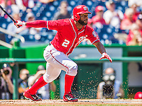 26 April 2014: Washington Nationals outfielder Denard Span in action against the San Diego Padres at Nationals Park in Washington, DC. The Nationals shut out the Padres 4-0 to take the third game of their 4-game series. Mandatory Credit: Ed Wolfstein Photo *** RAW (NEF) Image File Available ***
