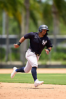 New York Yankees Jasson Dominguez (25) running the bases during an Extended Spring Training game against the Philadelphia Phillies on June 22, 2021 at the Carpenter Complex in Clearwater, Florida.  (Mike Janes/Four Seam Images)