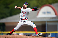 Auburn Doubledays starting pitcher Dane Dunning (28) during the first game of a doubleheader against the Batavia Muckdogs on September 4, 2016 at Dwyer Stadium in Batavia, New York.  Batavia defeated Auburn 1-0 in a continuation of a game started on August 13. (Mike Janes/Four Seam Images)