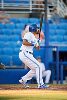 Dunedin Blue Jays left fielder Dalton Pompey follows through on a swing during a game against the Fort Myers Miracle on April 17, 2018 at Dunedin Stadium in Dunedin, Florida.  Dunedin defeated Fort Myers 5-2.  (Mike Janes/Four Seam Images)