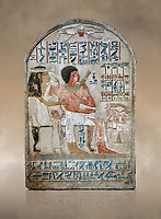 Ancient Egyptian stele of Djehutynefer called Seshu, Scribe, limestone, New Kingdom, 18th Dynasty, (1500-14253 BC), Thebes, Old Fund cat 1638. Egyptian Museum, Turin. <br /> <br /> Djehutynefer called Seshu was the accountant scribe of cattle and fowl in the temple of Amon, and his wife the house mistress Benbu