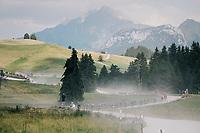 peloton on the gravel section after the top of the Montée du plateau des Glières (HC/1390m)<br /> <br /> Stage 10: Annecy > Le Grand-Bornand (159km)<br /> <br /> 105th Tour de France 2018<br /> ©kramon