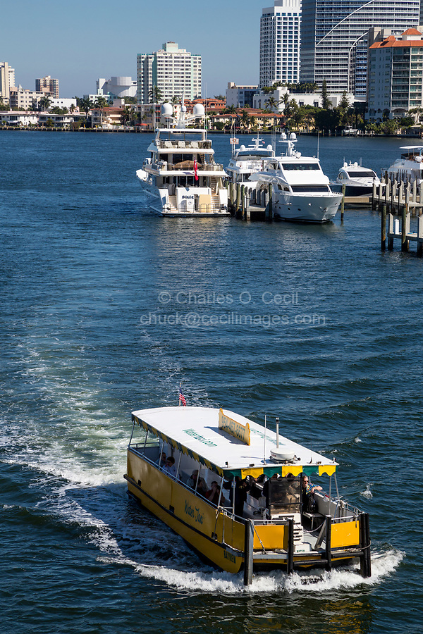 Ft. Lauderdale, Florida.  Water Taxi on the Intracoastal waterway.