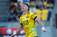 Hurricanes' Jordie Barrett celebrates his successful conversion during the Super Rugby Aotearoa match between the Hurricanes and Chiefs at Sky Stadium in Wellington, New Zealand on Saturday, 20 March 2020. Photo: Dave Lintott / lintottphoto.co.nz