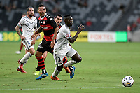 10th February 2021; Bankwest Stadium, Parramatta, New South Wales, Australia; A League Football, Western Sydney Wanderers versus Melbourne Victory; Adama Traore of Melbourne Victory and Tate Russell of Western Sydney Wanderers watch the loose ball