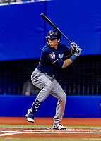 25 March 2019: Milwaukee Brewers outfielder Christian Yelich at bat during an exhibition game against the Toronto Blue Jays at Olympic Stadium in Montreal, Quebec, Canada. The Brewers defeated the Blue Jays 10-5 in the first of two MLB pre-season games in the former home of the Montreal Expos. Mandatory Credit: Ed Wolfstein Photo *** RAW (NEF) Image File Available ***