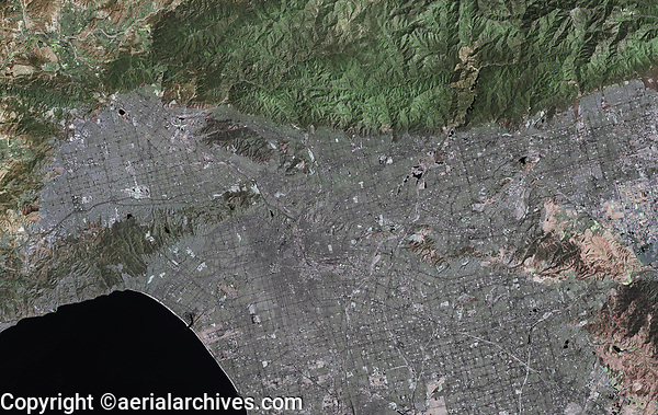 aerial photo map of an overview of the Los Angeles metropolitan area, California