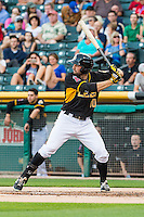 Kyle Kubitza (10)  of the Salt Lake Bees at bat against the Tacoma Rainiers in Pacific Coast League action at Smith's Ballpark on August 31, 2015 in Salt Lake City, Utah. Salt Lake defeated Tacoma 6-5. (Stephen Smith/Four Seam Images)