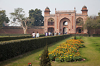 """Agra, India.  Entrance to the  Itimad-ud-Dawlah, Mausoleum of Mirza Ghiyas Beg.  The tomb is sometimes referred to as the """"Baby Taj."""""""