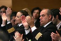 Piloti Alitalia applaudono durante la manifestazione del Popolo della Liberta' a Roma, 28 marzo 2008..Alitalia's pilots applaud during an electoral rally of the People of Freedom in Rome, 28 march 2008..UPDATE IMAGES PRESS/Riccardo De Luca