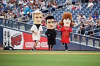 A mascot race during a Nashville Sounds game against the New Orleans Baby Cakes on May 1, 2017 at First Tennessee Park in Nashville, Tennessee.  Nashville defeated New Orleans 6-4.  (Mike Janes/Four Seam Images)