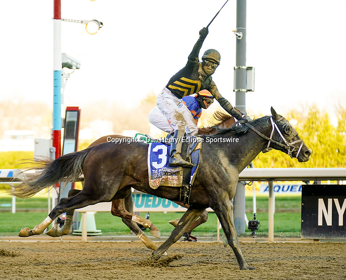 APR 03, 2021 :  Boubonic with Kendrick Carmouche up, scores an upset at 72-1 to win the Grade 2  Wood Memorial Stakes, for 3- year olds, going 1 1/8 mile, earning 100 points for the Kentucky Derby. Aqueduct Racetrack, Ozone Park, NY. Dan Heary-Eclipse Sportswire-CSM