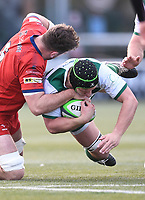 20th February 2021; Trailfinders Sports Club, London, England; Trailfinders Challenge Cup Rugby, Ealing Trailfinders versus Doncaster Knights; Jerry Sexton of Doncaster Knights tackles Adam Korczyk of Ealing Trailfinders