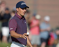 17th July 2021; Royal St Georges Golf Club, Sandwich, Kent, England; The Open Championship Golf, Day Three; Jordan Speith (USA) acknowledges applause from the fans after saving his par on the 12th hole