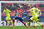 Yannick Ferreira Carrasco (L) of Atletico de Madrid is tackled by Sergio Mora Sanchez and Amath Ndiaye Diedhiou of Getafe CF during the La Liga 2017-18 match between Atletico de Madrid and Getafe CF at Wanda Metropolitano on January 06 2018 in Madrid, Spain. Photo by Diego Gonzalez / Power Sport Images