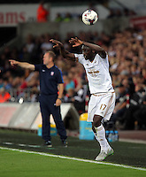 Pictured: Eder of Swansea fails to take a throw inTuesday 25 August 2015<br /> Re: Capital One Cup, Round Two, Swansea City v York City at the Liberty Stadium, Swansea, UK.