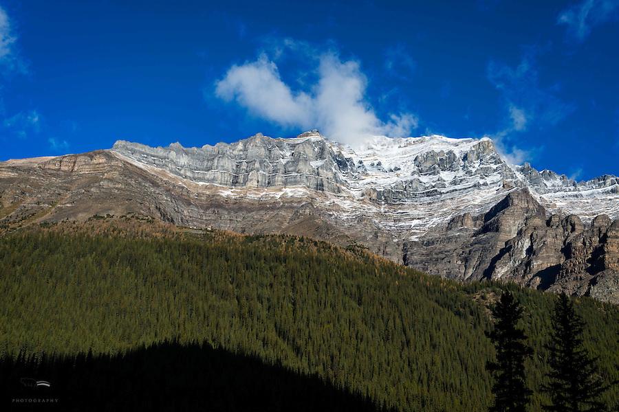 Cliffs overlooking Moraine Lake in Banff National Park, Alberta, Canada.