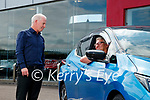 Finbarr McCannwith customer Michael Dalton at Randles brothers, Nissan dealers in Tralee.