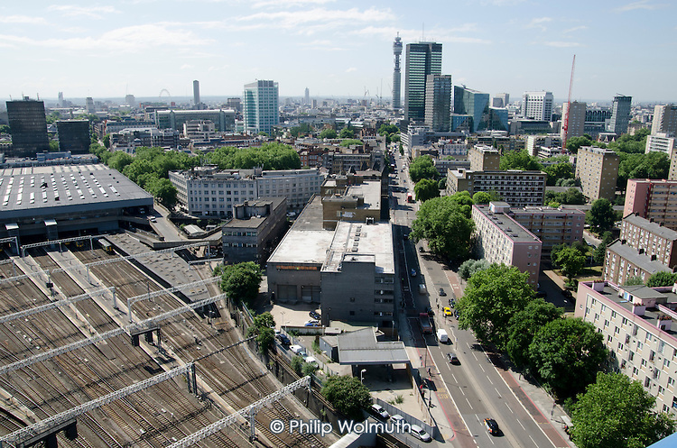 Railway lines at Euston station, proposed site for the London terminal of the HS2 high speed train line.  Regent's Park Estate, scheduled for partial demolition, is on the right.