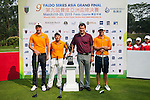 (L-R) Simon Zach of Czech Republic, Yuki Kamasu of Japan, Sir Nick Faldo of United Kingdom and Zachary Bauchou of USA pose prior to day 3 of the 9th Faldo Series Asia Grand Final 2014 golf tournament on March 20, 2015 at Faldo course in Mid Valley Golf Club in Shenzhen, China. Photo by Xaume Olleros / Power Sport Images