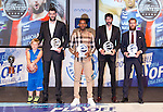 Ioannis Bourousis, Derius Adams, Alex Mumbru and Sergio Rodriguez, during presentation of the Liga Endesa playoff. May 23,2016. (ALTERPHOTOS/Rodrigo Jimenez)